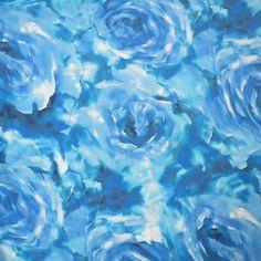 Blue Floral Watercolored Design Silk  #hautecouture #silk #printed #fabric #fabricstore #coralgables #shopping #onlineshopping #fabrics #women #womensfashion #fashion #fashionfabrics