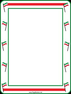 Green, white and red flags decorate this free, printable, festive border. Free to download and print.