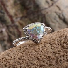 Mercury Mystic Topaz and Diamond Ring in Platinum Overlay Sterling Silver (Nickel Free)