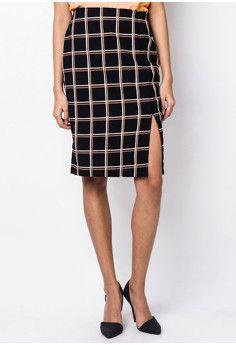 Unica Hija Plaid Pencil Cut Skirt with Slit #onlineshop #onlineshopping #lazadaphilippines #lazada #zaloraphilippines #zalora