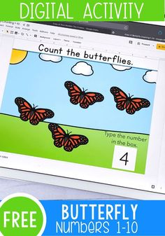 This FREE Google Slides and Seesaw digital activity is perfect for counting with preschoolers, pre-k, and kindergarteners. Practice counting to 10 with a fun butterfly theme. It is perfect for your math centers, distance learning, and homeschooling. #googleslides #kindergarten #math #preschool #prek #mathcenter #homeschool Counting Activities For Preschoolers, Pre K Activities, Kindergarten Activities, Preschool Activities, Preschool Schedule, Insect Activities, Counting Games, Preschool Education, Waldorf Education