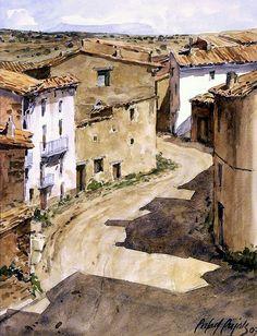 Art Aquarelle, Watercolor Paintings, Watercolour, Landscape Sketch, Landscape Paintings, Bird Sketch, Watercolor Architecture, John Singer Sargent, Cottage House Plans