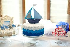 nautical baby shower flowers - Nautical Baby Shower Theme – Home Party Theme Ideas Baby Shower Cakes, Baby Shower Themes, Baby Boy Shower, Baby Shower Decorations, Baby Cakes, Nautical Cake, Nautical Theme, Vintage Nautical, Sailboat Cake