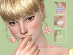 Sims 4 CC's - The Best: Flower Balls Earring by S-Club