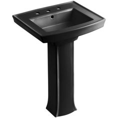 "Kohler K-2359-8 Archer Vitreous China 24"" Pedestal Rectangular Bathroom Sink with Over?ow and 3 Hole 8"" Widespread Faucet Drilling"