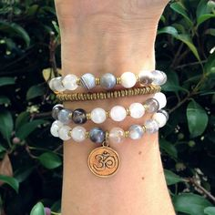 Rose Quartz and Botswana Agate 54 bead mala necklace or bracelet with – Lovepray jewelry