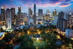 Bangkok city skyline at dusk, Bangkok Thailand
