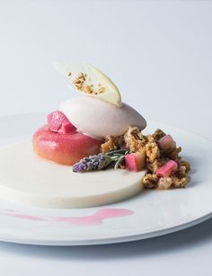 Buttermilk Panna Cotta with Roasted White Peach Sorbet