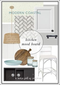 Inspiration for a modern coastal kitchen with a Hamptons vibe. Crisp, fresh white-on-white colour scheme with black accents, herringbone marble, rattan & duck egg blue. Click through for sources and progress shots! Coastal Bathrooms, Coastal Living Rooms, Coastal Cottage, Coastal Decor, White Coastal Kitchen, Coastal Curtains, Coastal Entryway, Coastal Colors, Coastal Lighting