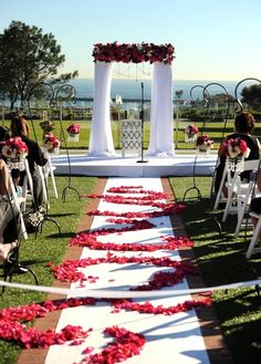 Walk down the aisle with scattered rose petals for that dramatic entrance
