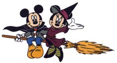 Vampire Mickey hitches a ride with Witch Minnie on her broom stick Disney Halloween, Halloween Cartoons, Halloween Clipart, Halloween Skirt, Happy Halloween, Clipart Baby, Disney Clipart, Minnie Mouse, Mickey Y Minnie