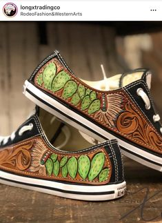 Leather Carving, Leather Tooling, Tooled Leather, Cute Shoes, Me Too Shoes, Western Shoes, Shoe Boots, Shoes Heels, Leather Projects