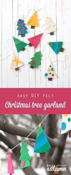 Cute Christmas tree garland - easy DIY holiday decoration from @itsalwaysautumn | Felt Tree Garland