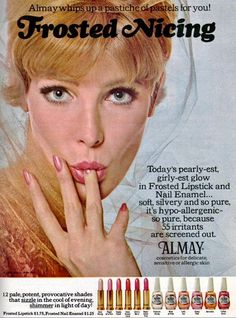 """Almay """"Frosted Nicing"""" Lipstick and Nail Enamel Ad Vintage Makeup Ads, Vintage Nails, Retro Makeup, Vintage Beauty, Retro Vintage, Vintage Stuff, Beauty Ad, Beauty Makeup, Frosted Lipstick"""