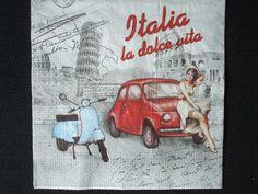 """serviette en papier Italie, """"la dolce vita"""", vespa, fiat 500, tour de pise…"""