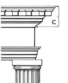 Cornice : In classical architecture the top, projecting section of an entablature, also any projecting ornamental molding along the top of a wall, arch, etc.