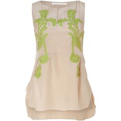 SCHUMACHER Tan And Grass Green Embroidered Silk Top ($287) ❤ liked on Polyvore