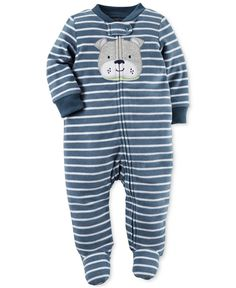 Carter's Baby Boys' Striped Dog Footed Coverall