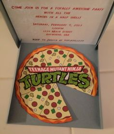 Teenage Mutant Ninja Turtles Pizza Box Invitation. --- fun concept...I think I could make it a bit snazzier :)