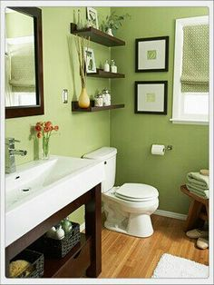 I really like this green with the dark wood. Also love the shelves above the toilet.