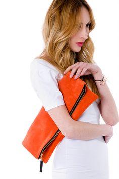 Leather portfolio clutch Tangerine by MarketaNewYorkShop on Etsy, $135.00
