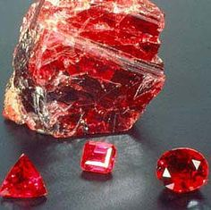 July Birthstone: Ruby. A glorious, red gemstone - part of the corundum family, which includes sapphires.     Rubies are a symbol of passion and good fortune.