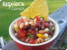 Redneck Caviar dip with beans, corn, tomatoes, and peppers
