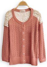 Red Contrast Lace Long Sleeve Hollow Cardigan Sweater $33.44