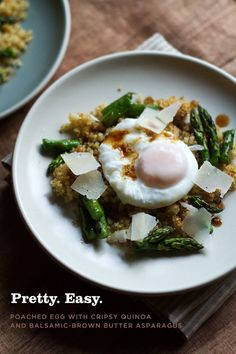 holy. crap. so dang unexpectedly amazing. Poached Egg Quinoa Asparagus Recipe  1 1/2 cups uncooked quinoa, rinsed  Kosher salt and freshly ground black pepper  2 tablespoons olive oil, divided  1 tablespoon white vinegar (optional)  6 large very fresh eggs  1 1/2 pounds asparagus  4 tablespoons unsalted butter  2 to 3 teaspoons balsamic vinegar  Parmesan cheese, to serve