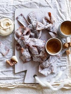 Fried pastries with espresso mascarpone. Gourmet Traveller, photo Ben Dearnley.