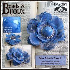 ISA'sART: BEADS & BIJOUX - BLUE FLOWER BROOCH