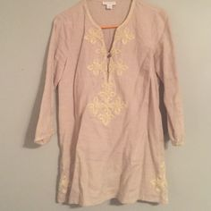Gold- cotton tunic Adorned at the sides, sleeves and top this tunic is light weight, and perfect for spring. Can be worn as a dress or paired with leggings Charter Club Tops Tunics