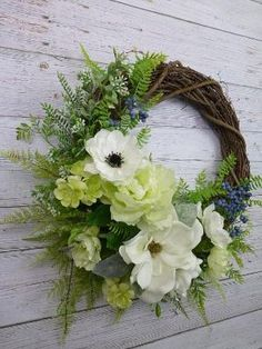 Magnolia Wreath Spring Wreaths For Front Door Wreahs Hostess Gift for New Homeowners Gift Grapevine Outdoors Wreaths Everyday Wreath (spring wreaths magnolia) Spring Door Wreaths, Easter Wreaths, Summer Wreath, Wreaths For Front Door, Christmas Wreaths, Christmas Tree, Moss Wreath, Grapevine Wreath, Wreath Burlap