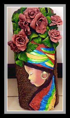 Negra                                                       … Hobbies And Crafts, Diy And Crafts, Arts And Crafts, Clay Wall Art, Art Africain, Black Artwork, Bottle Painting, Polymer Clay Crafts, Mural Art
