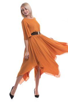 Rochie midi elegantă, cu talie elastică, model în colțuri în partea de jos, din material voal, model cloș. High Low, Women's Fashion, Model, Dresses, Vestidos, Fashion Women, Womens Fashion