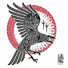 Celtic Norse Raven Tattoo Design by Dawbun Tatoo Symbol, Tatoo Art, Body Art Tattoos, Sexy Tattoos, Norse Tattoo, Celtic Tattoos, Viking Tattoos, Maori Tattoos, Tribal Tattoos