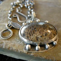Sterling Silver Necklace with Palm Fossil by coldfeetjewelry, $125.00