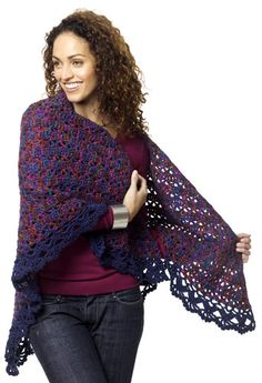 I love this.....I can see sitting reading a book wrapped up in this! Different colors though. Harlequin Shawl: free crochet pattern - easy level!