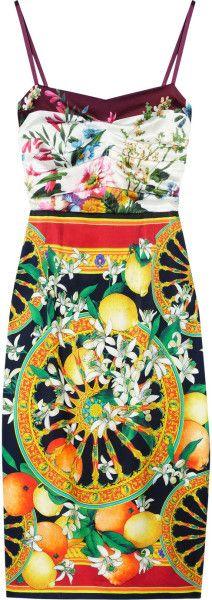 Printed Silk-satin Dress - Lyst