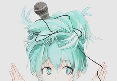 Hatsune Miku as a Little Girl practicing singing with a microphone but it got tangled in her Twin Tails