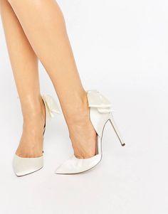 PHOENIX - Chaussures de mariée pointues à talons ornées d'un nœud