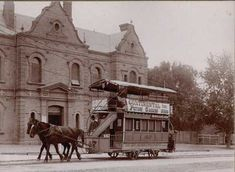 Horse tram in King William Road passing the City Baths, Adelaide