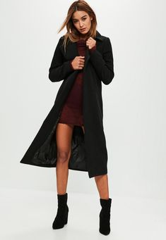 Missguided - Tall Black Longline Faux Wool Duster Coat