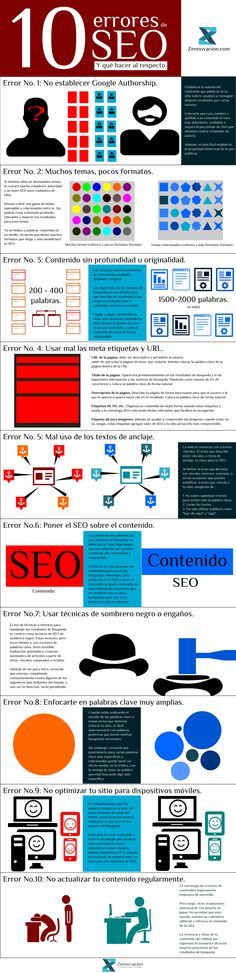 10 errores de SEO (y que hacer al respecto) Courtesy of: http://zennovacion.com/ #infografia #infographic #seo