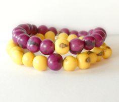 Vibrant Purple or Yellow Acai Bracelet / by theblackstarboutique, $25.00