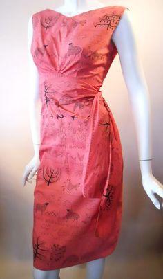 50s folk art print cotton dress, Dorothea's Closet Vintage archives. Love!