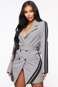 mini dress Moves Are Made Blazer Mini Dress - Grey/combo Moves Are Made Blazer Minikleid - Grau / Kombi Blazer Outfits, Blazer Dress, Dress Outfits, Fashion Outfits, Women's Fashion, Grey Outfit, Gray Dress, Sleevless Blazer, Office Dresses For Women