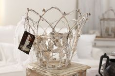 """CROWN, French Wire art, home decor, Sea Crown, Wedding Cake topper, Santos, Gypsy, Fairy, Jeanne d Arc living, ORIGINAL !!  This item has been added to a copyright domain """"©"""" Dore Callaway 2014 $139.00 **** No finer piece will ENTISE you.**** Heavy gauge wire.....will not bend easily held by hands.  ( Will not BEND, made of gauge wire that bends with special tools)   **in this sale, you will be purchasing the crown on top of the wood box**  ONE-OF-A-KIND !! signed piece Dore Callaway…"""