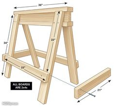 Go get two 12-ft. 2x4s and one 10-ft. 2x4. Using 16d nails or 3-in. screws, assemble the three boards that make up the I-beam. Attach the legs, using a framing square to square the legs to the beam. Attach the rails last.
