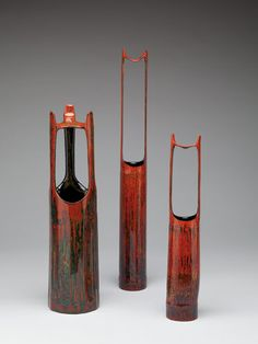 Basketry, Fujinuma Noboru, Artist, Lacquer Vases, Bamboo and lacquer